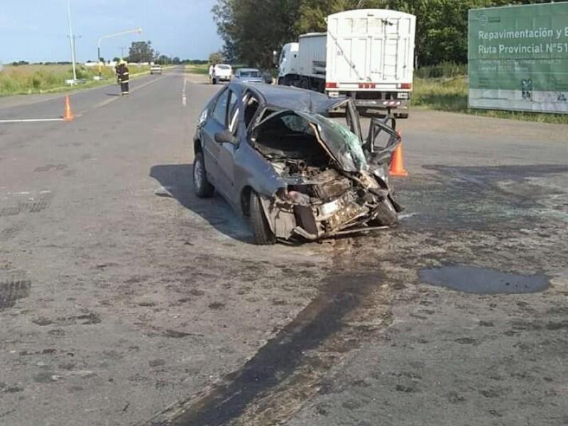 Grave accidente en Ruta 51 y el cruce a La Violeta