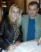 Valentina Domenech, acompa�ada del primer candidato a concejal, Hern�n Batista